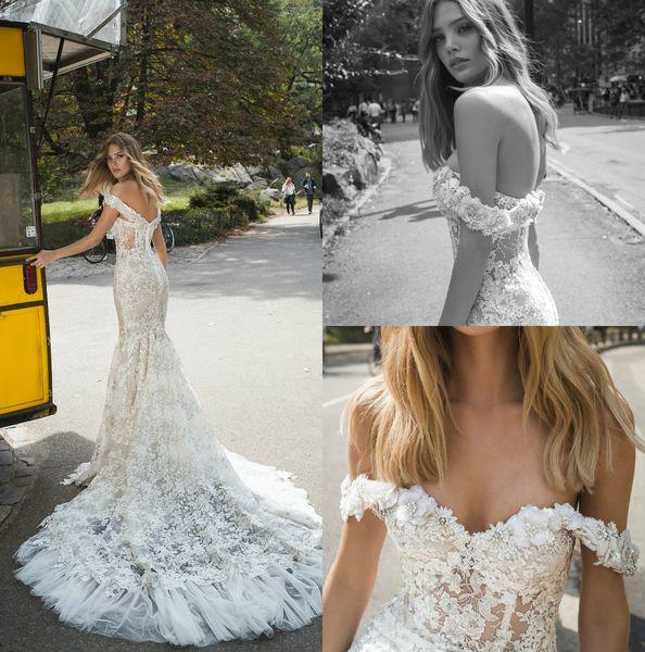 Sexy hors épaule robes de mariée sirène Backless dentelle robes de mariée avec Appliqued robe de mariée de plage