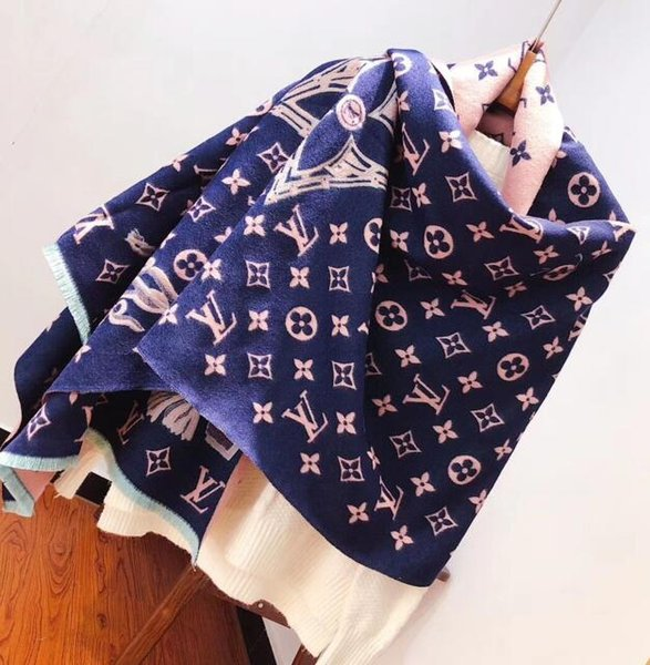 VV Double-sided winter women's 100% cashmere scarf classic pattern scarf women's Pashmina designer shawl scarf free shipping
