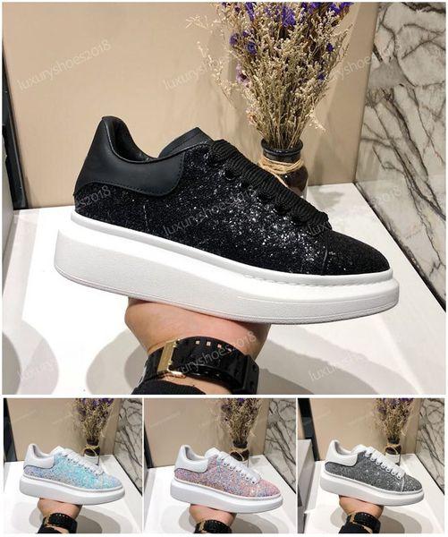 Tasarımcı Lüks Platformu Klasik Rahat Ayakkabılar Mens Womens Kaykay Ayakkabı Sneakers Glitter Glitter Tırmanmak Heelback Elbise Ayakkabı Tenis chaussures
