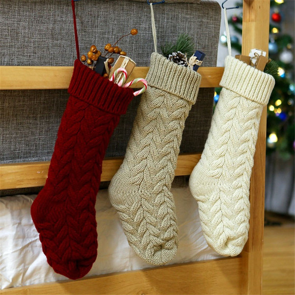 Knitted Christmas Stockings.Twist Knitted Christmas Stockings Winter Gift Bag Decoration Christmas Thick Sweater Christmas Stocking Accessories 46cm 37cm Outdoor Christmas