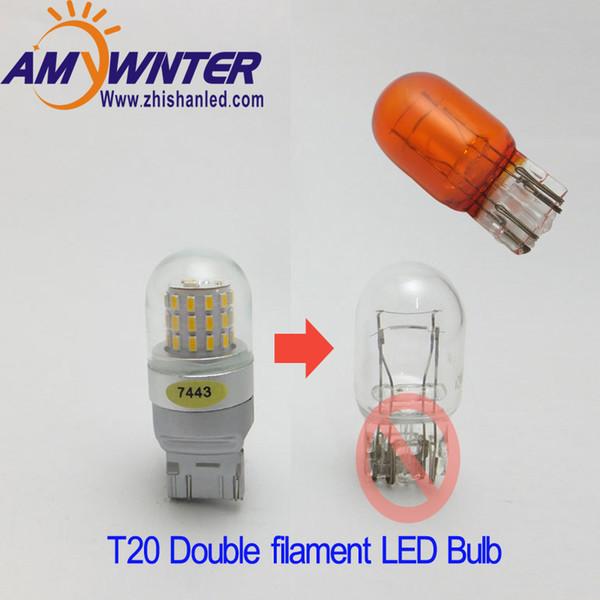 7444 T20 7443 led Çift Işık Fonksiyonu 7440 Tek Işık Amber Sarı Beyaz araba Fren lambaları ampuller Kırmızı Araba Kaynağı