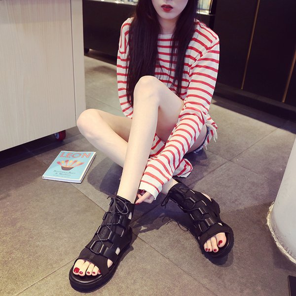 Lucky2019 Women's Rome Shoes Crossing Chalaza Wind Leisure Time Toe Bandage Sandals Cool Boots