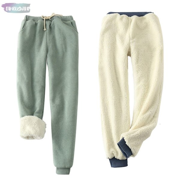 Cashmere Winter Thick Elastic Waist Loose Plus Size Solid Wool 9 Color Cotton Warm Women Casual Velvet Trousers Pants