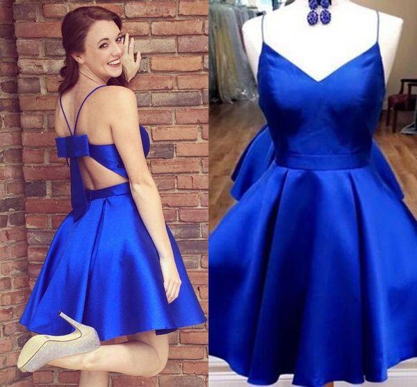 Royal Blue Bow Vestidos de fiesta cortos 2019 Nueva Sexy con cuello en V Spaghetti espalda abierta Vestido de cóctel Vestido de graduación de regreso a casa 8vo grado