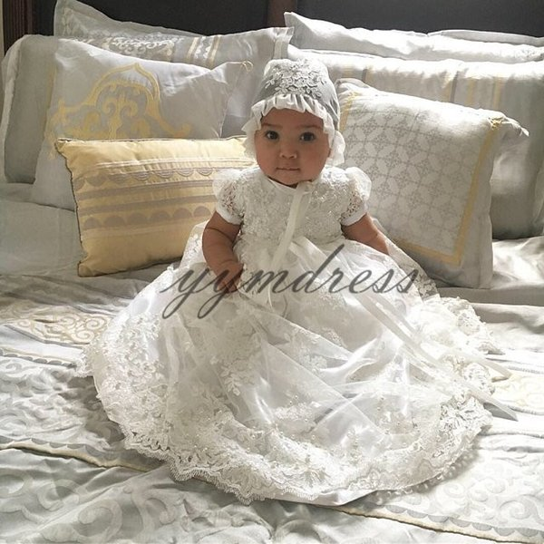 2019 Cute Flower Girl Dresses for Country Wedding Party Short SleeveToddler Tutu Lace Beads Baby Child Formal Birthday Dresses