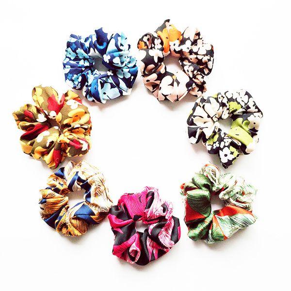 Hair Scrunchie Tie Accesories for Women Girl Ponytail Hair scrunchies Holder Rope Summer Chiffon Flower Hair bands Headbands FQ1023C