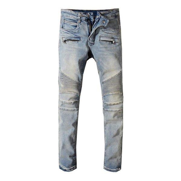 Erkek Yeni Jeans Hip Hop Sıkıntılı Fermuar Jeans Erkekler Montaj Denim Pantolon Boyutu 29-42 Ripped
