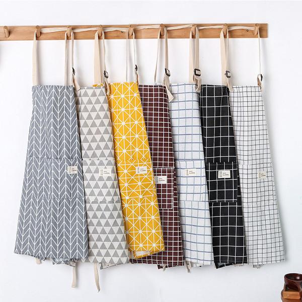New Hot Fashion Lady Women Men Adjustable Cotton Linen High-grade Kitchen Apron For Cooking Baking Restaurant Pinafore