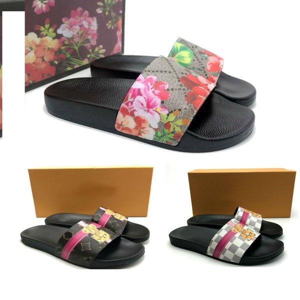2019 Luxury flower Sandali firmati sandali con tacco in pelle stampa griffata Morbida pelle uomo in gomma sandali donna taglia pantalone 36-46 con scatola