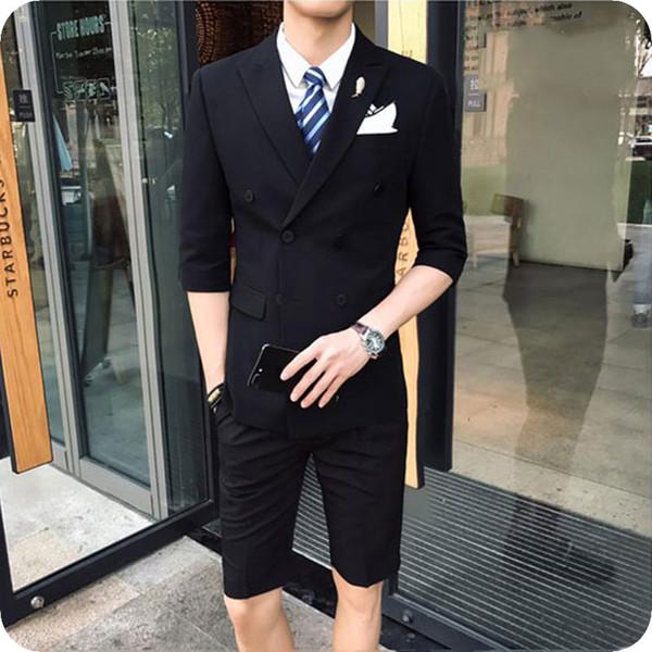 Black Groom Wedding Tuxedos Men Suits Short Pants Beach Peaked Lapel 2piece Evening Party Handsome Groomsmen Jacket Pants Terno Masculino