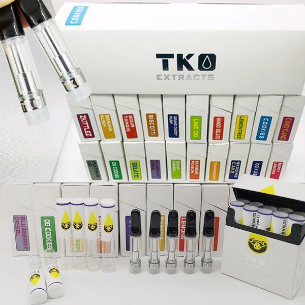 TKO extrait des cartouches 510 cartouches en céramique de vape 0.8ml vides de stylos de vape des chariots de vaporisateur de cigarettes de citernes d'huile avec l'emballage de boîte de saveur