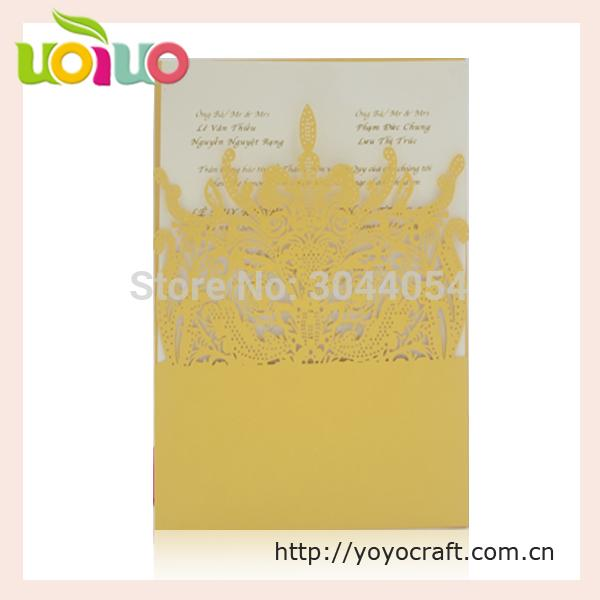 2017 Golden luxurious wedding invitation card royal crown laser cut chinese invitation card with competitive price for sale