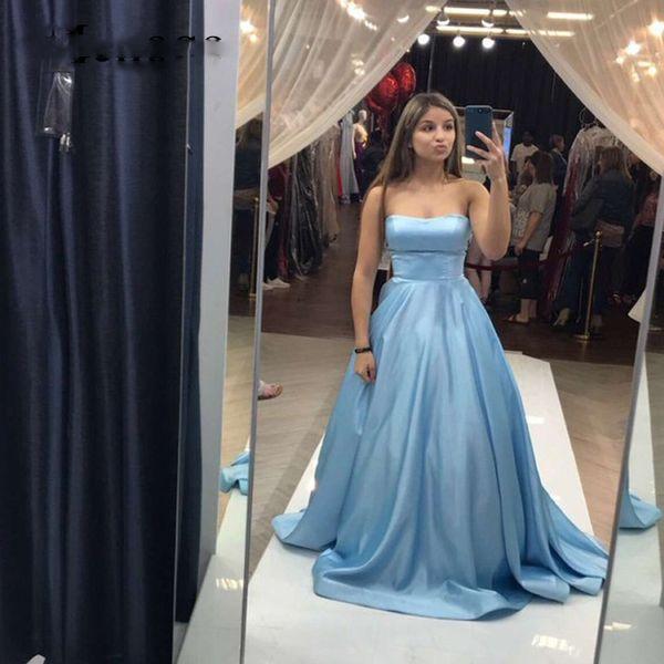 Light Blue Satin A-Line Prom Dresses Strapless Girls Evening Dresses Simple Long Prom Gowns vestidos formatura