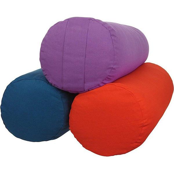 Natural Organic Buckwheat Hulls Filled Solid Color Tube Yoga Bolster Meditation Cushion Cover Plain Yoga Zafu Zen Pillow Case 100% Cotton