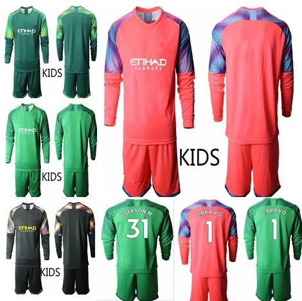 2020 Soccer goalkeeper #1 C.BRAVO EDERSON M.#31 kids Goalie uniform City football Long Sleeve Youth soccer jerseys set size 16-28