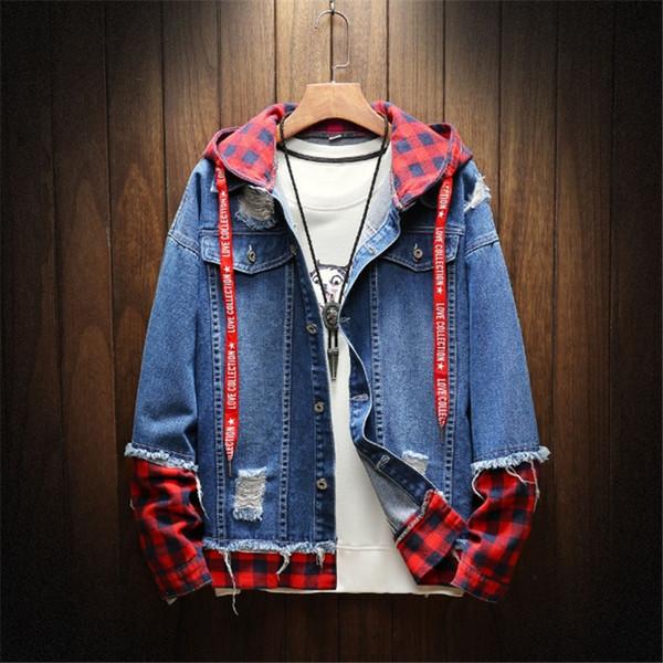 Outono Inverno dos homens Venda Quente Casual Projeto Do Vintage Wash Afligido Jaqueta Jeans Casaco Top Blusa de Alta Qualidade Casaco de Inverno Casaco