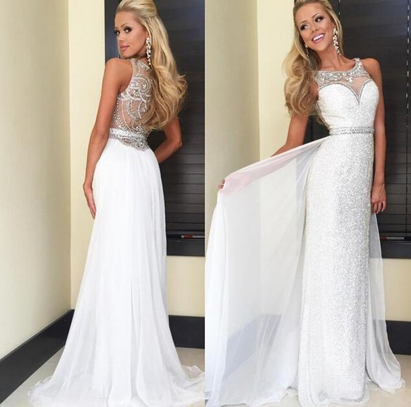 White Sequins Cheap Prom Party Dresses Crystal New Arrival Sheer Neck Sheath Girls Pageant Dress Custom Made Formal Beads Evening Gowns