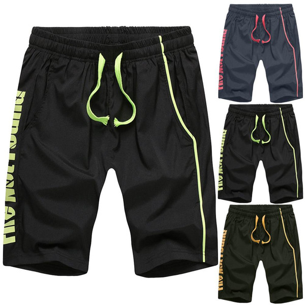 Men's New Beach Shorts 2019 Summer Men Leisure Pure Color Stretch Belt Belted Rope Sports Pants With Drawstring Home Pants