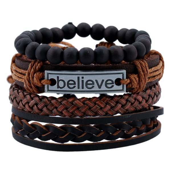 4pcs/set Mens Vintage Believe charm Leather bracelet sets Braided Rope Black Beads chains Warp Bangle For women Fashion Punk DIY Jewelry