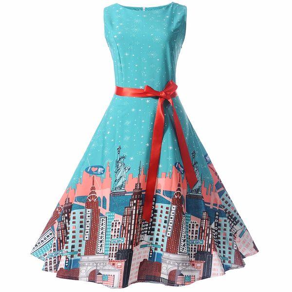 Women Dresses Retro Hepburn High Waist Knee Length Dresses A Variety Of Belts Women Party Wear Party Dresses