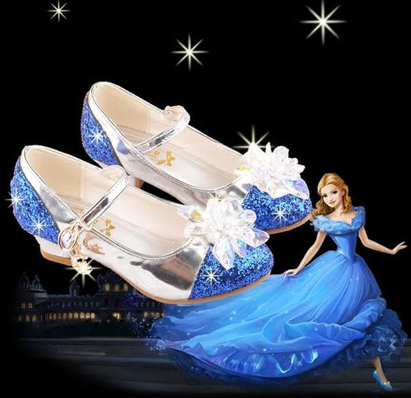 Kinder Designer Schuhe Sommer Mode Aschenputtel Kristall Schuhe Prinzessin Dünne Schuh Mit Pailletten Fersen Und Kristall Prinzessin Sandalen Tanzschuhe