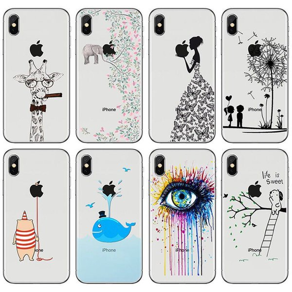 DHL free shipping Phone case girl animal soft silicone Phone Case cover For Apple iPhone 6 6s 7 8 Plus X XR XS Max case