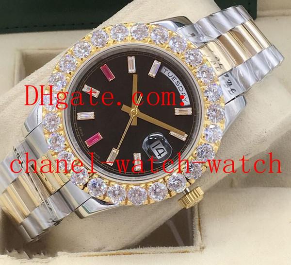 Бесплатная доставка Diamond Mens Wrist Watch Day-Date II Президент 218238 18K Y Gold Fact Рубиновые Багеты Циферблат Механические Автоматические Часы Механизм