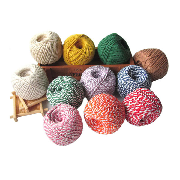 top popular DIY handmade crafts color rope 2mm double color cotton rope two-color cotton ball ball braid line packaging rope color 2021