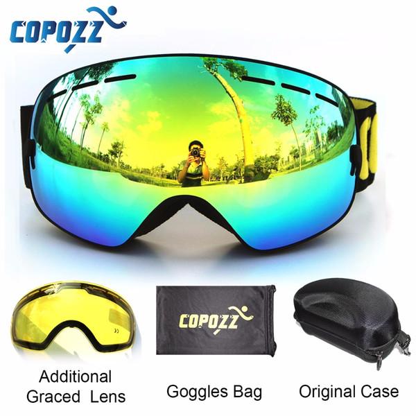 COPOZZ marque lunettes de ski 2 double lentille anti-buée UV400 grand grand lunettes de snowboard sphériques hommes femmes ski lunettes de neige ensemble