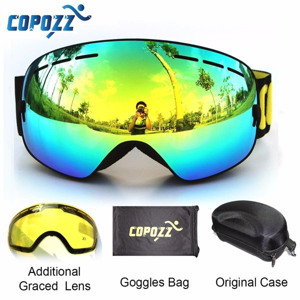 Occhiali da sci di marca COPOZZ 2 lenti a doppia lente anti-fog UV400 grandi occhiali da snowboard sferici grandi uomo donna sci occhiali da sci Set