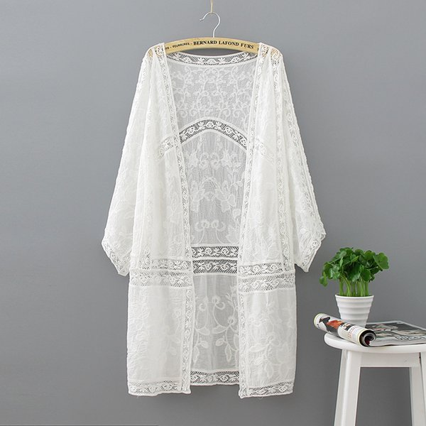 Fashion-Embroidery Long Kimono Summer Tops 2018 Fashion Casual White Shirt Women Clothes Batwing Sleeve Loose Blouse Kimono Cardigan