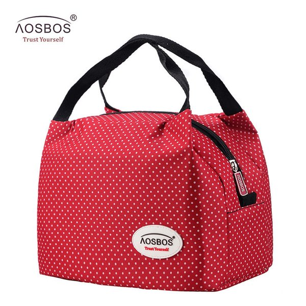 Aosbos Fashion Portable Insulated Canvas Lunch Bag Thermal Food Picnic Lunch Bags For Women Kids Men Cooler Lunch Box Bag Tote C19041601