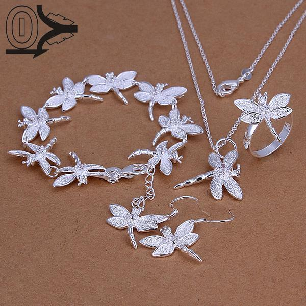 Wholesale Silver Plated Jewelry Set,Cheap Bridal Party Sets,Simple Inlaid Stone Dragonfly Silver Necklace Bracelet Ring Earring