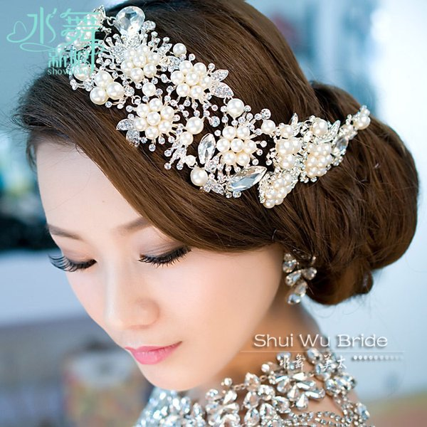 Imported Alloy Plated Pearl Crystal Bridal Headdress Tiara Wedding Hair Accessories Hair Jewelry For Brides Y19051302