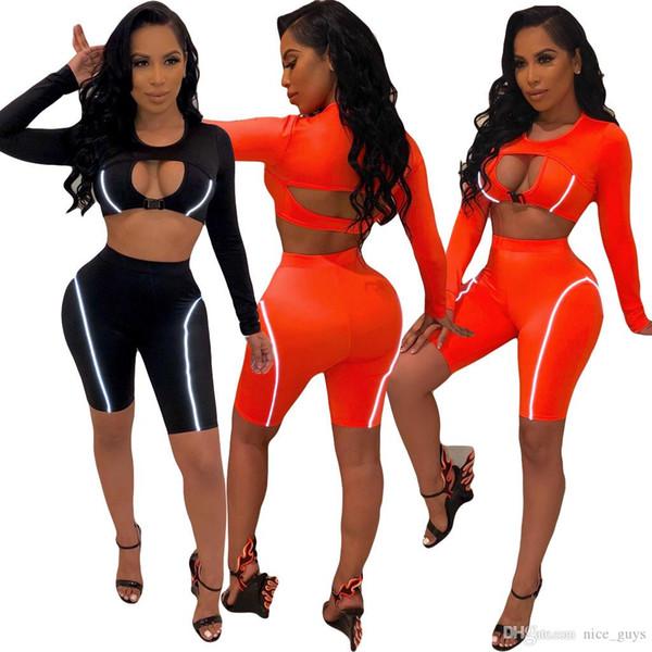 Clubwear sexy Color sólido Juego de 2 piezas Moda mujer O cuello Manga larga Crop Top hueco y rodilla-Longitud Pantalones cortos Color naranja
