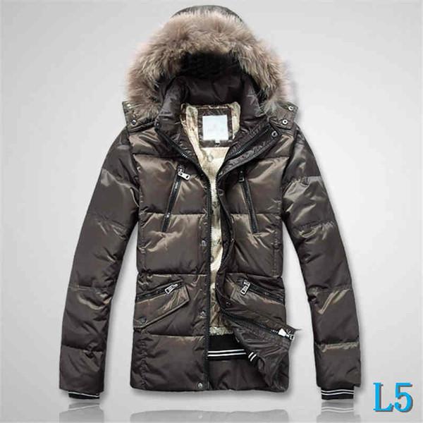 Mens Jacket Feather Style Down Coat Hooded Fur Thich Warm Windbreaker Fashion Brand Jacket Zipper Luxury Coat PocketsL5