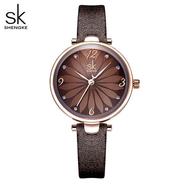 Shengke Deri İzle Çiçek Kadınlar Kuvars saatı Quartz Analog Kadınlar İzle Casual Bayan Saatler Reloj Mujer Dial