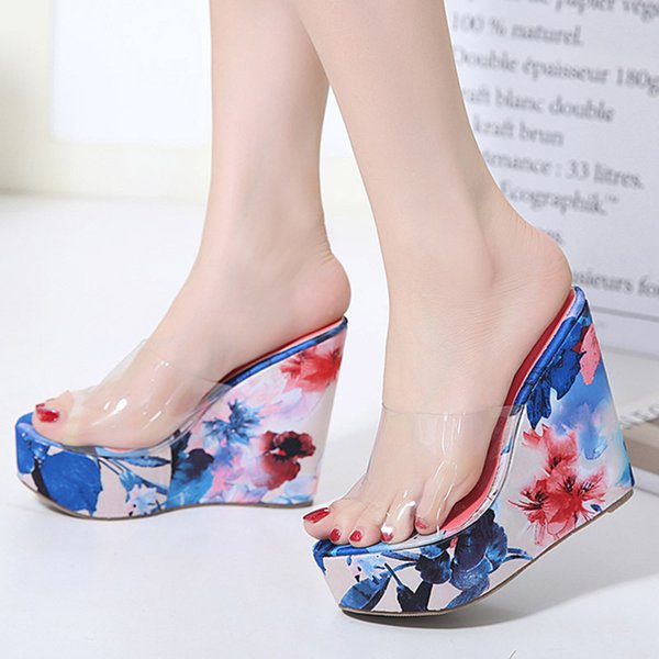 Goddess2019 Glue Glass Transparent Slope With Woman Cool Slipper