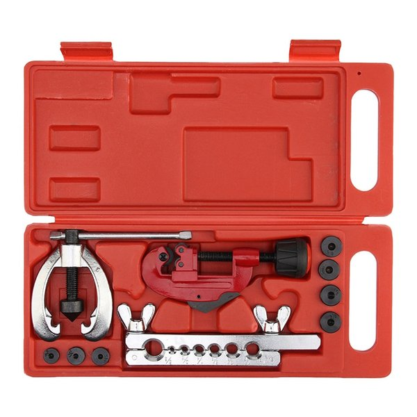 Quality Heat Treated Steel, metal Tube Cutter Brake Fuel Pipe Repair Double Flaring Die Tool Set Clamp KitFor Cutting And Flar