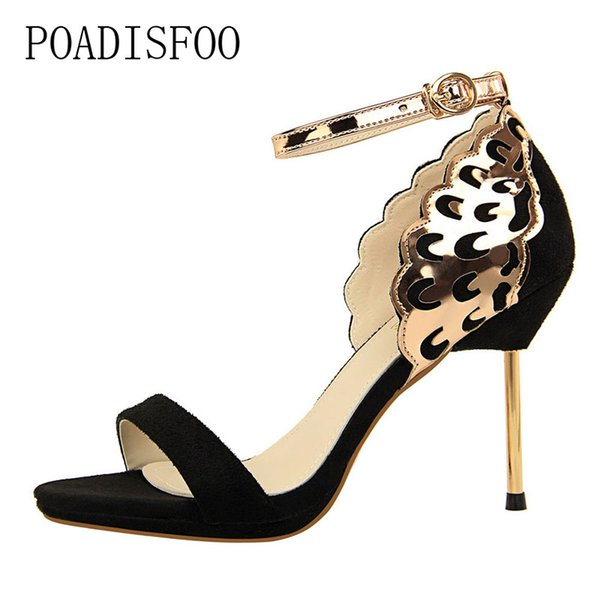 Designer Dress Shoes POADISFOO Banquet High-heeled Stiletto High-heeled waterproof Taiwan Square Sequins Hollow Word Sandals .DS-923-9