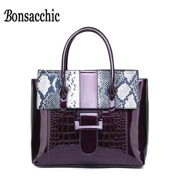 Women's Patent Leather Bags Handbag Famous Brands Wild Snake Print Ladies Lacquered Bags for Women 2019 Big Casual Tote Bag
