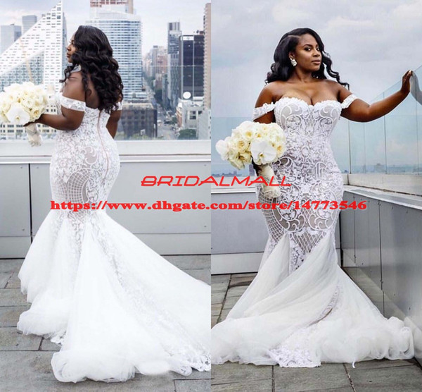 best selling Plus Size Mermaid Wedding Dresses 2019 Off The Shoulder Trumpet Bridal Gowns Sweep Train Tulle Lace African Wedding Dress Vestidos De Novia