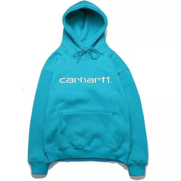 best selling fashion  s men and women new lovers suit carhart hooded embroidered letters plus velvet casual sweater tide M-XXL
