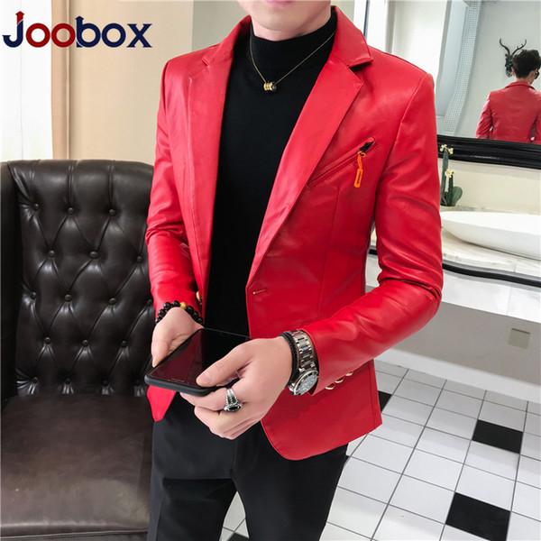 2019 couro Outono Casacos Blazer Men Fashion Designer de couro slim fit Blazer Homme Clube Outfit revestimento do revestimento dos homens