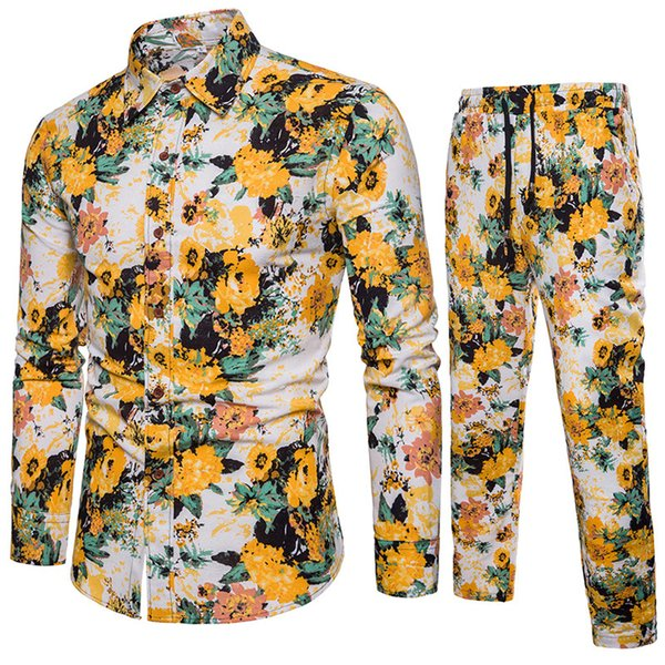 2018 New Arrival Men Shirts Set Top + Pants Cotton And Linen Casual Shirt Suits Single Breasted Yellow Floral Printed Large Size