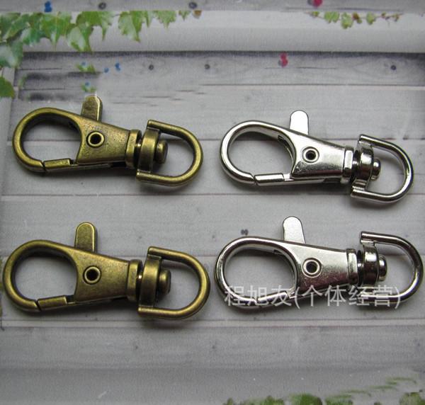 Gümüş bronz Kaplama Metal Döner Istakoz Kapat Klip Anahtar Kanca Anahtarlık Bölünmüş Anahtarlık Bulguları Klipsler Yapma 30mm