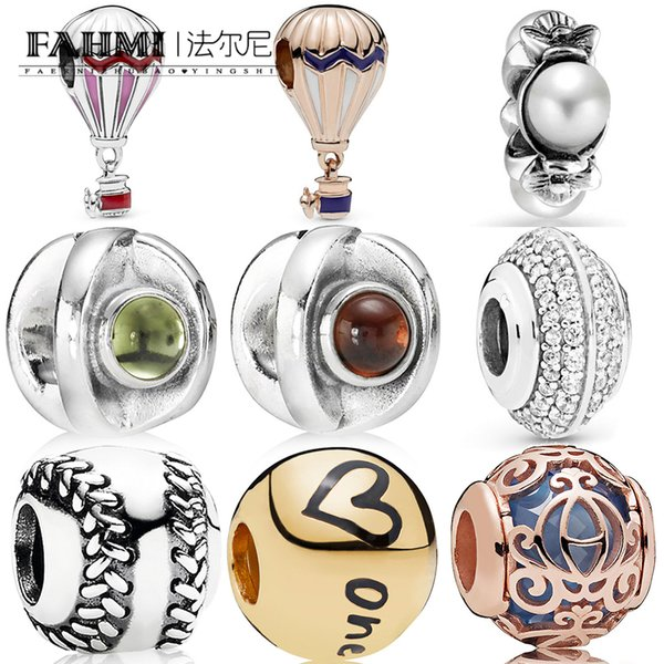 FAHMI 100% 925 Sterling Silver New Air Balloon Peridot Eye Baseball Sparkling Pave Spacer Women High quality glamour jewelry beading