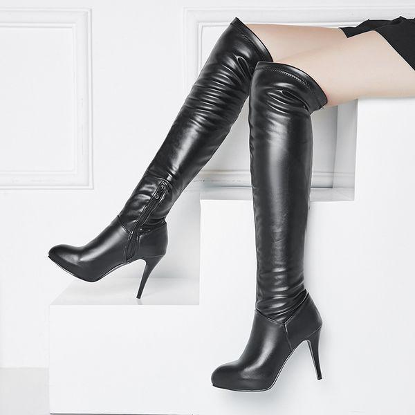 Acheter 2019 Femmes Bottes Aux Genoux Pu Cuir Tous Les Matchs Mince Talon Haut Bout Rond Femmes Chaussures Bottes De Moto Grand Taille 34 43 De $27.14