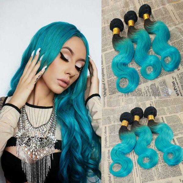 Fasci di capelli umani Ombre di grado 9A # 1B / verde 100% non trasformati vergini brasiliani estensioni dei capelli dell'onda del corpo tessuto dei capelli trama
