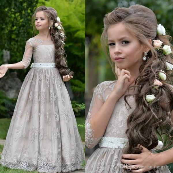 Princesa Flor Meninas Vestidos Adolescente Para O Laço Do Casamento Apliques de Baile Vestidos de Tule Mangas Compridas Frete Grátis Vestido Da Menina de Flor Para Vendas